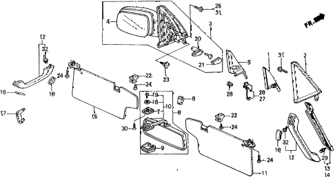 1990 civic 4WD(1600) 5 DOOR 4AT INTERIOR ACCESSORIES diagram
