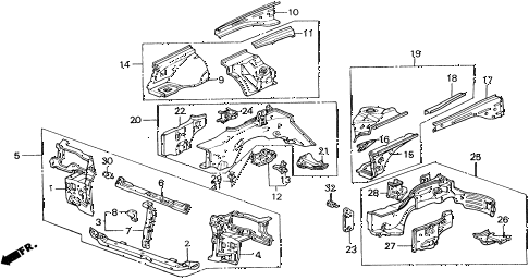 1990 civic 4WD(1600) 5 DOOR 5MT FRONT BULKHEAD diagram