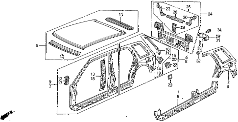 1991 civic 4WD(1600) 5 DOOR 5MT OUTER PANEL diagram