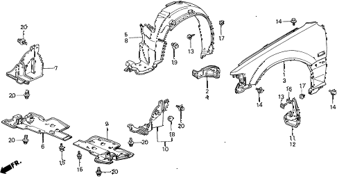 1990 civic 4WD(1600) 5 DOOR 4AT FRONT FENDER diagram