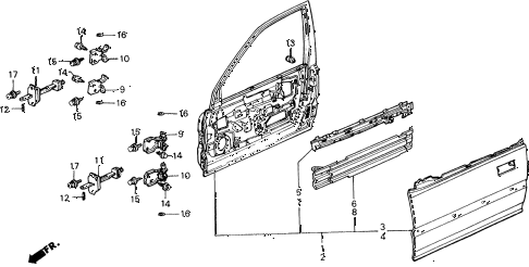 1991 civic 4WD(1600) 5 DOOR 5MT FRONT DOOR PANELS diagram