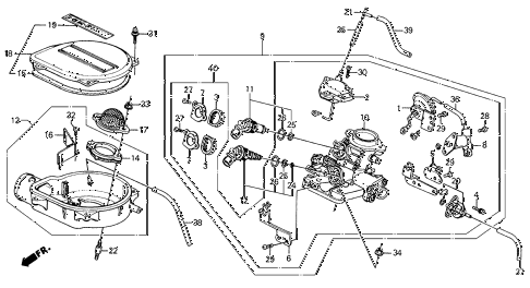 1989 civic DX 5 DOOR 5MT THROTTLE BODY (1) 2WD diagram