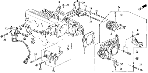 1990 civic 4WD(1600) 5 DOOR 4AT THROTTLE BODY (2) 4WD diagram