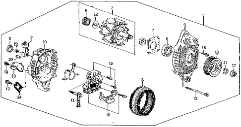 1989 civic **(WAGOVAN) 5 DOOR 5MT ALTERNATOR (MITSUBISHI) diagram