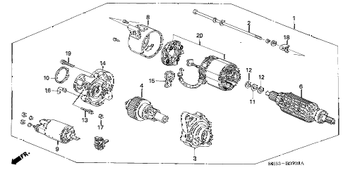 1988 civic **(WAGOVAN) 5 DOOR 4AT STARTER MOTOR (MITSUBA) diagram