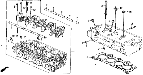 1990 civic 4WD(1600) 5 DOOR 5MT CYLINDER HEAD diagram