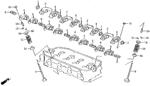 1991 civic 4WD(1600) 5 DOOR 4AT VALVE - ROCKER ARM diagram