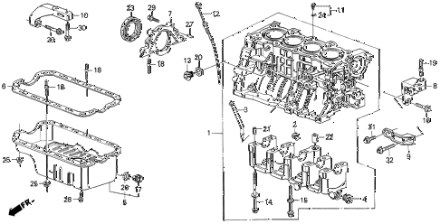 1990 civic DX 5 DOOR 4AT CYLINDER BLOCK - OIL PAN diagram