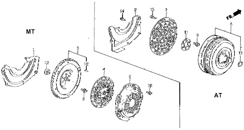 1990 civic 4WD(1600) 5 DOOR 4AT CLUTCH - TORQUE CONVERTER diagram