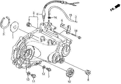 1991 civic DX 5 DOOR 5MT MT TRANSMISSION HOUSING diagram