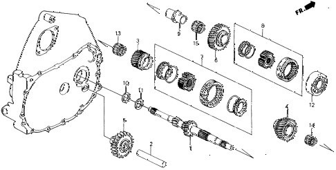 1988 civic **(WAGOVAN) 5 DOOR 5MT MT MAINSHAFT GEARS 2WD diagram