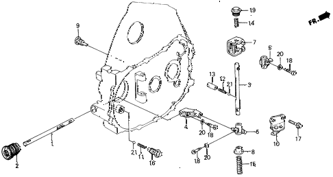 1991 civic DX 5 DOOR 5MT MT SHIFT ROD - SHIFT HOLDER diagram
