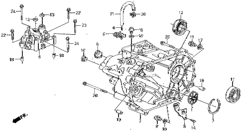 1988 civic 4WD(1600) 5 DOOR 5MT MT TRANSMISSION HOUSING diagram