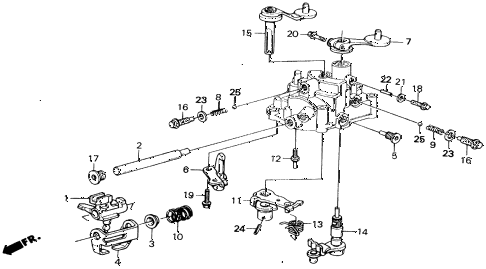 1990 civic 4WD(1600) 5 DOOR 5MT MT SHIFT ARM - SELECT ARM 4WD diagram