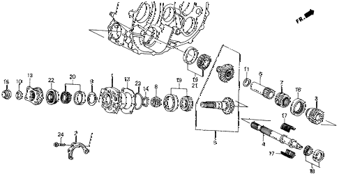 1988 civic 4WD(1600) 5 DOOR 5MT MT TRANSFER BEVEL GEARS 4WD diagram