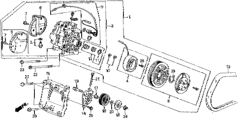 1989 civic DX 5 DOOR 5MT A/C COMPRESSOR (MATSUSHITA) diagram