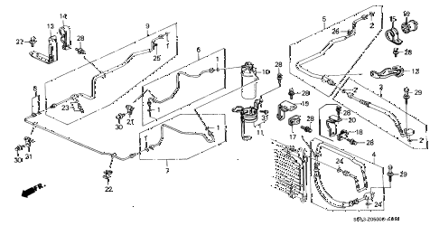 1989 civic DX 5 DOOR 5MT A/C HOSES - PIPES (1) diagram