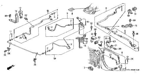 1990 civic 4WD(1600) 5 DOOR 4AT A/C HOSES - PIPES (2) diagram