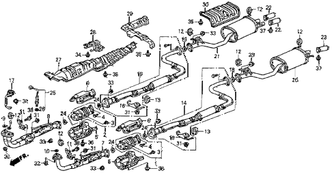 1992 accord DX 2 DOOR 5MT EXHAUST SYSTEM diagram