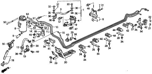 1990 accord DX 2 DOOR 5MT FUEL PIPE diagram