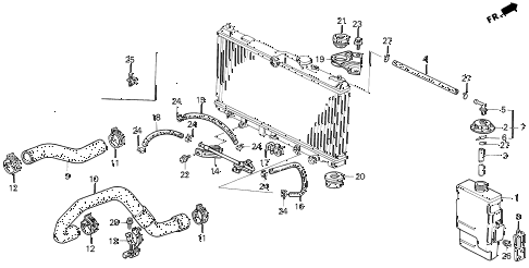 1992 accord DX 2 DOOR 5MT RADIATOR HOSE diagram