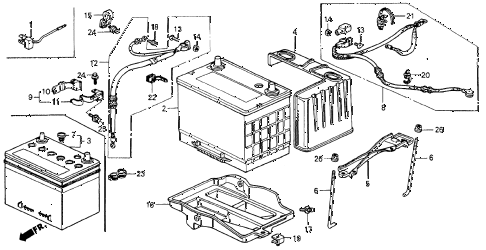 1993 accord LX 2 DOOR 5MT BATTERY diagram