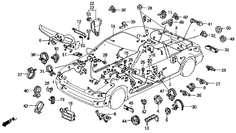 1992 accord EX 2 DOOR 4AT WIRE HARNESS diagram