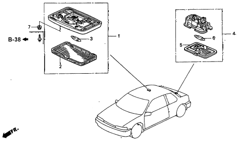 1993 accord SE 2 DOOR 4AT INTERIOR LIGHT diagram
