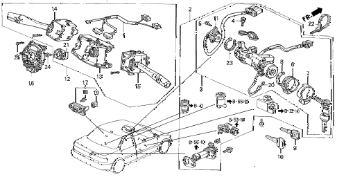 1991 accord DX 2 DOOR 5MT COMBINATION SWITCH diagram
