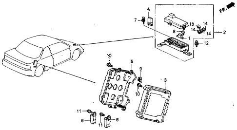 1993 accord EX 2 DOOR 5MT ABS UNIT diagram