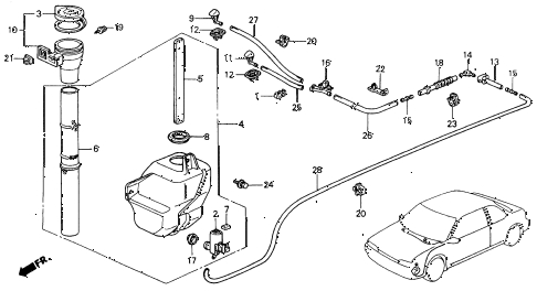 1990 accord LX 2 DOOR 5MT WINDSHIELD WASHER diagram