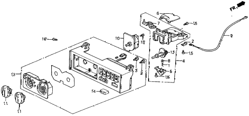 1993 accord SE 2 DOOR 4AT HEATER CONTROL (BUTTON) diagram