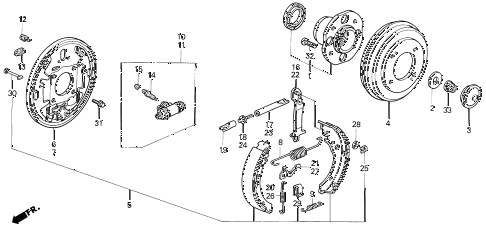 1993 accord LX 2 DOOR 5MT REAR BRAKE (DRUM) diagram