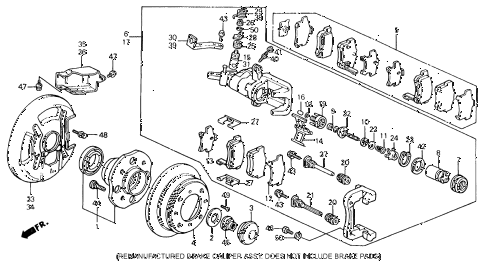 1993 accord SE 2 DOOR 4AT REAR BRAKE (DISK) diagram