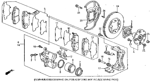 1992 accord EX 2 DOOR 5MT FRONT BRAKE (1) diagram