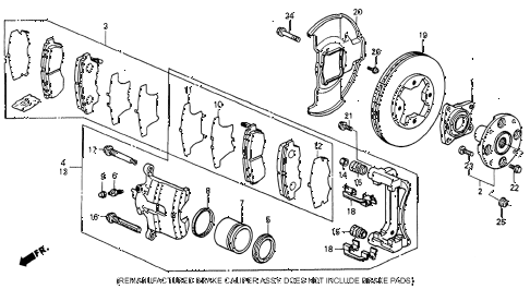 1993 accord EX 2 DOOR 5MT FRONT BRAKE (2) diagram