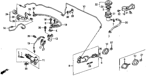 1991 accord DX 2 DOOR 5MT CLUTCH MASTER CYLINDER diagram