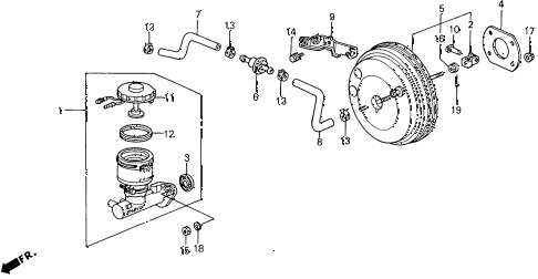 1993 accord LX 2 DOOR 4AT MASTER CYLINDER diagram
