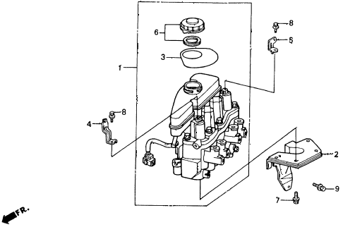 1992 accord EX 2 DOOR 5MT ABS MODULATOR diagram