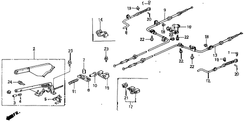 1990 accord EX 2 DOOR 5MT PARKING BRAKE diagram