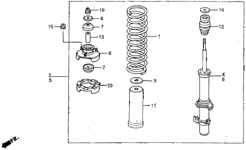 1991 accord LX 2 DOOR 5MT FRONT SHOCK ABSORBER diagram