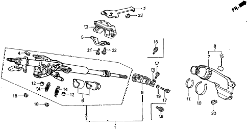 1992 accord EX 2 DOOR 5MT STEERING COLUMN diagram