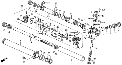 1990 accord EX 2 DOOR 5MT P.S. GEAR BOX COMPONENTS diagram