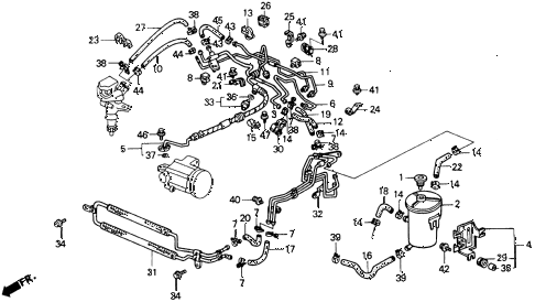 1992 accord DX 2 DOOR 5MT P.S. HOSES - PIPES diagram