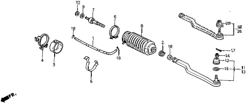 1990 accord DX 2 DOOR 5MT TIE ROD diagram