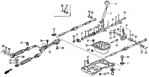 1992 accord LX 2 DOOR 5MT SHIFT LEVER diagram