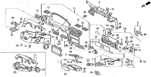 1993 accord DX 2 DOOR 5MT INSTRUMENT GARNISH diagram