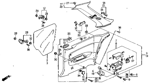 1993 accord LX 2 DOOR 5MT REAR SIDE LINING diagram