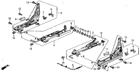 1993 accord SE 2 DOOR 4AT FRONT SEAT COMPONENTS diagram