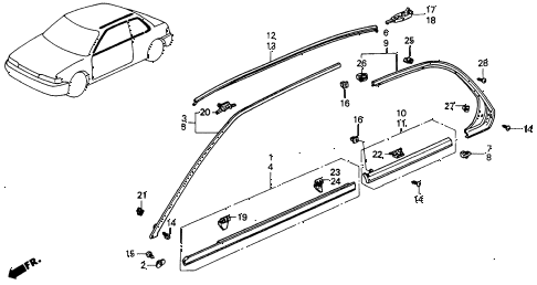 1992 accord DX 2 DOOR 5MT MOLDING diagram